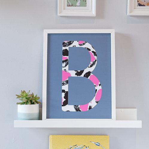 Grey and pink leopard print kids wall art