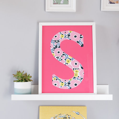 Pink floral initial print for children's bedroom