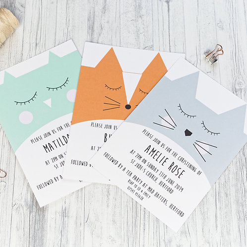 Animal christening invitations by Happy Paper