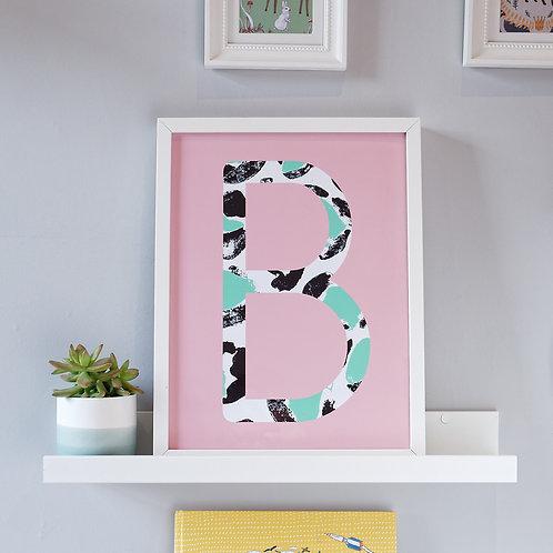 Pink leopard initial print for children's bedroom