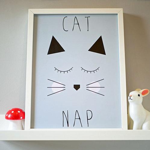 Cute Grey Cat Kids Wall Art by Happy Paper