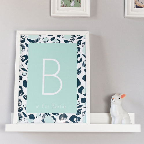 Green Leopard Print Initial Wall Art for Kids by Happy Paper