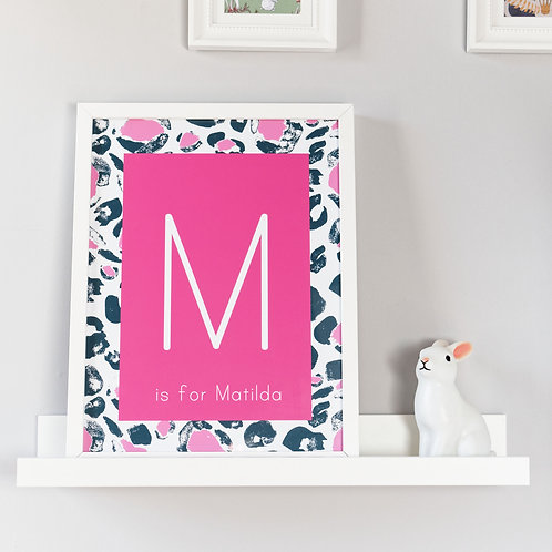 Hot Pink Leopard Print Initial Kids Wall Art by Happy Paper