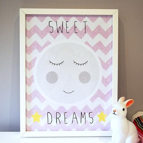 Cute sleeping moon kids wall art by Happy Paper