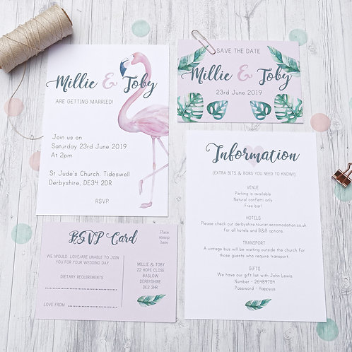 Flamingo tropical wedding stationery by Happy Paper