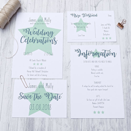 Star quirky wedding stationery by Happy Paper