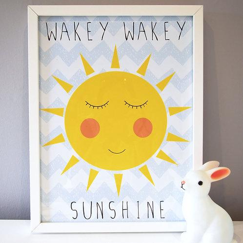 Cute Sleepy Sun Kids Wall Art by Happy Paper