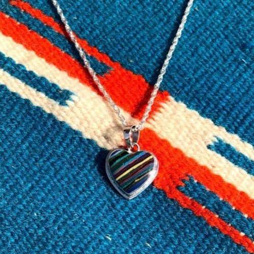 Multi Color + Sterling Silver Heart Necklace