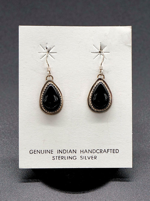 Black Onyx +Sterling Silver Earrings