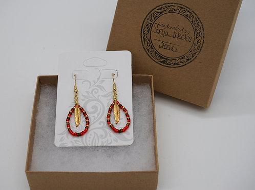 Beaded + Feather Earrings