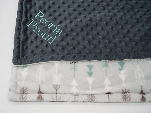 Peoria Proud +Arrow Minky Baby Blanket