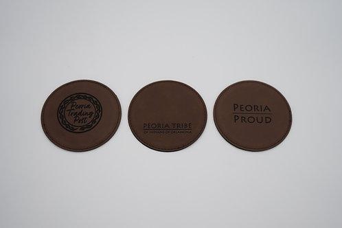 Dark Chestnut Leather Round Coasters