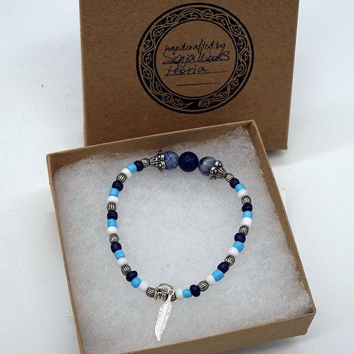 Beaded Bracelet + Feather Charm
