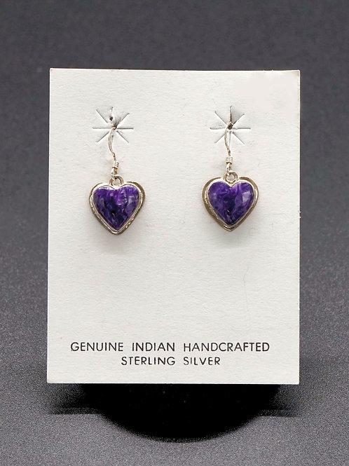Charoite + Sterling Silver Earrings