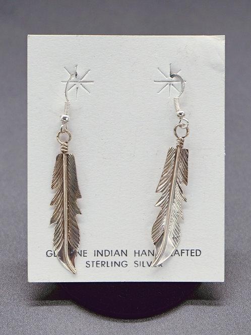 Long Feather + Sterling Silver Earrings