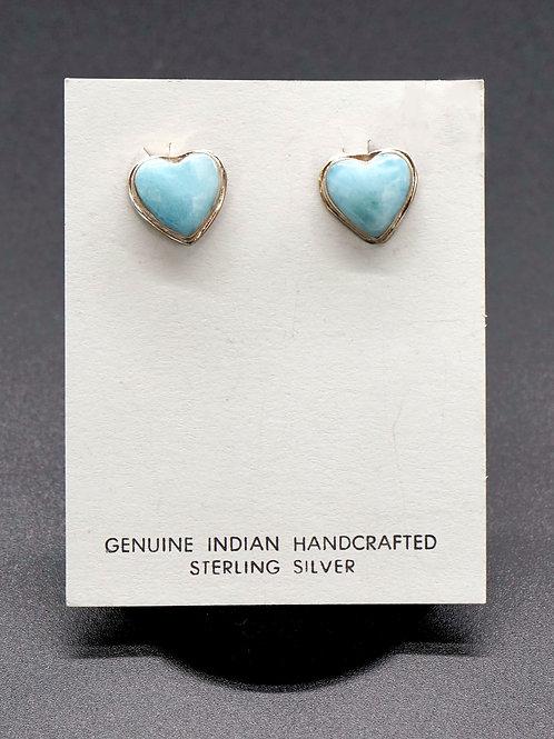 Larimar + Sterling Silver Heart Earrings