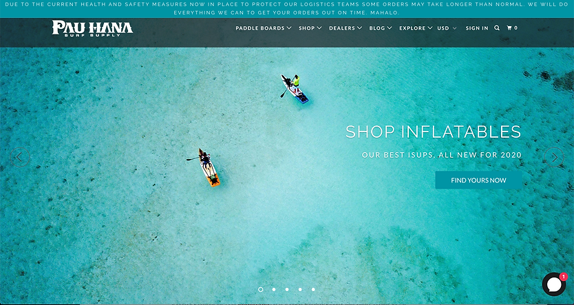 Pau Hana surf supply wed design example