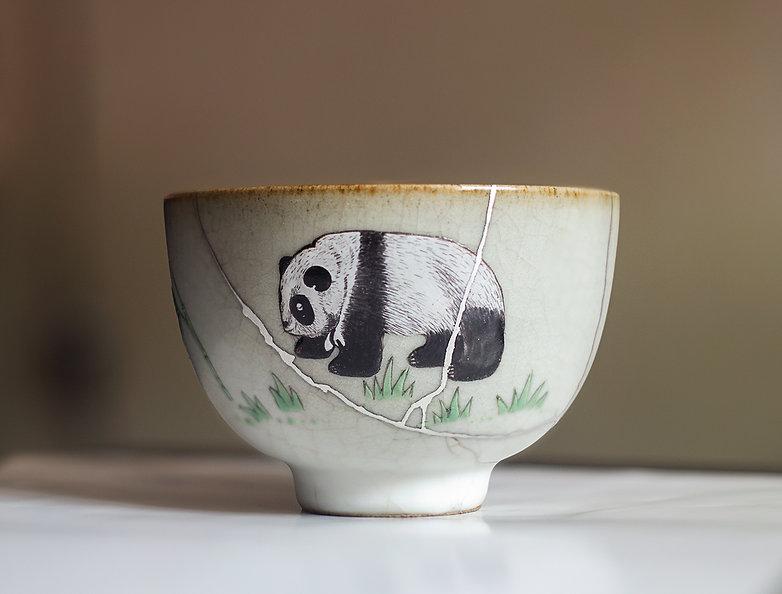 кинцуги серебро чашка панда