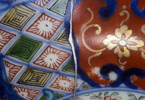 Ремонт посуды, кинцуги, kintsugi, блюдо, серебро, фарфор