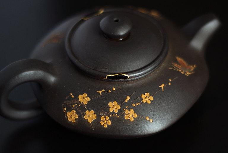kintsugi, кинцуги, чайник, крышка, золото