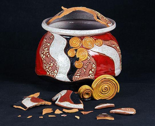 кинцуги, kintsugi, ремонт посуды, золото, сахарница, керамика