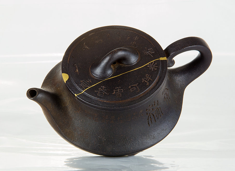 Ремонт посуды, кинцуги, чайник, золото, kintsugi