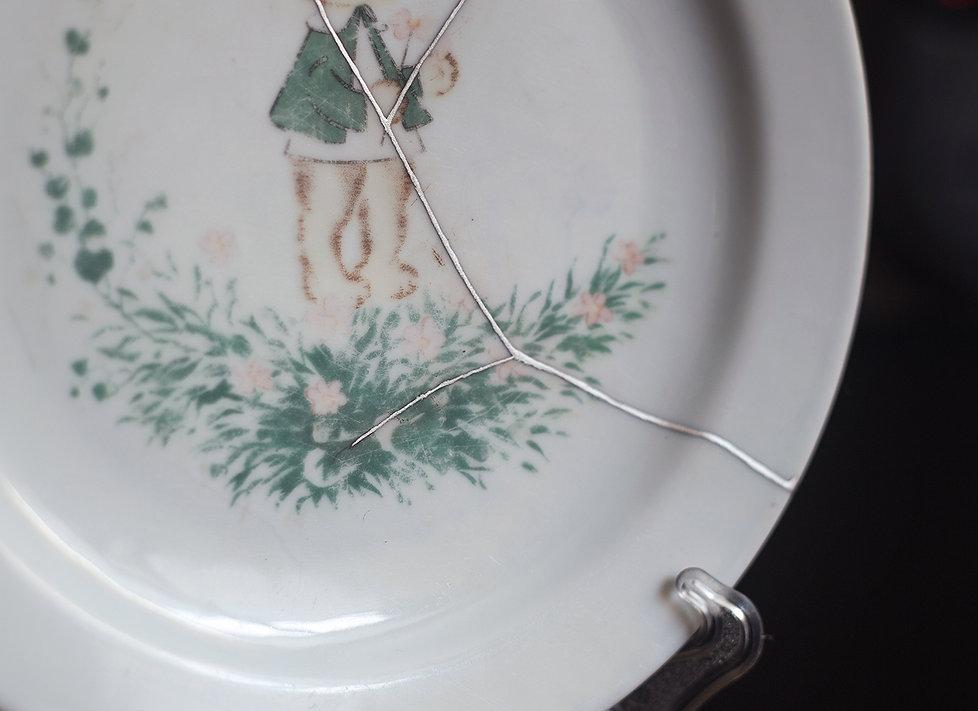 кинцуги тарелка фарфор