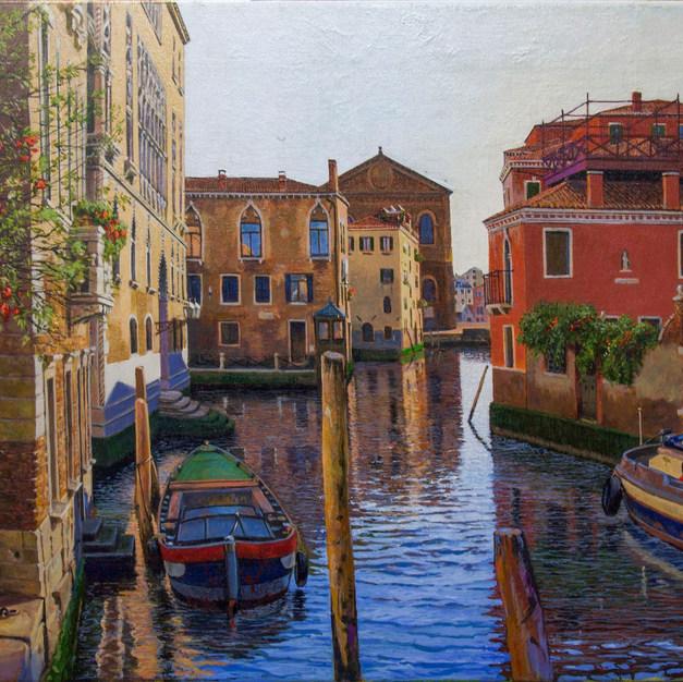 Backstreets Canal Scene Venice.