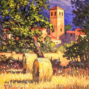 Spanish Church and Hay Bales 35x37 cm