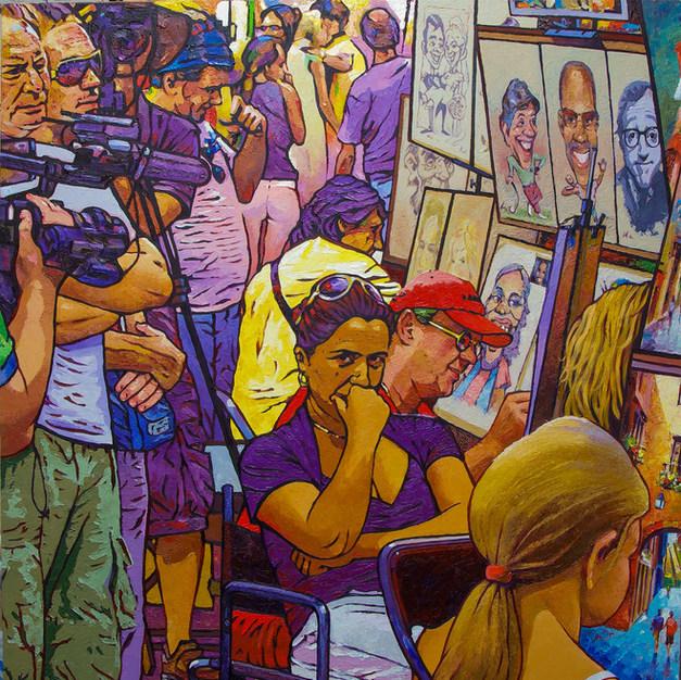 The Caricaturist on Las Ramblas 32x38 inches
