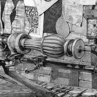 Master wood carver Bernard Blackburn (detail)
