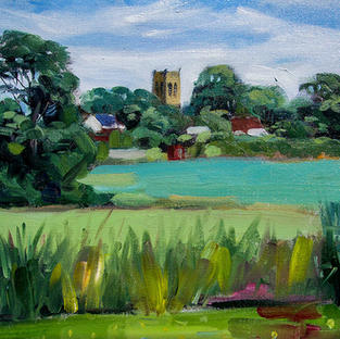 Melling Church as seen from the canal 12x16 inches