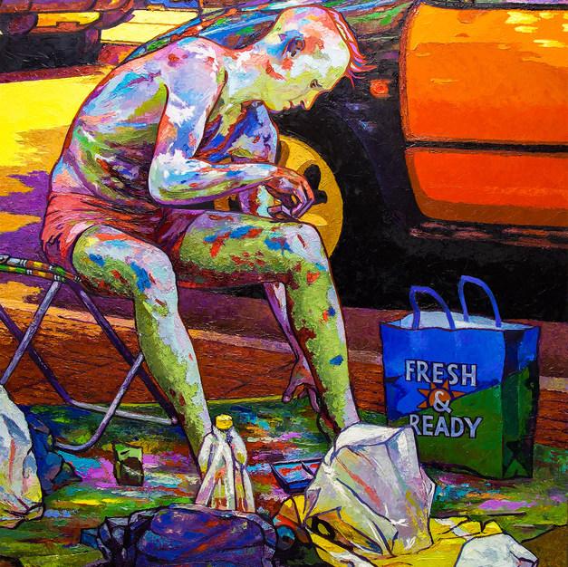 The Painted Man on Las Ramblas 32x38