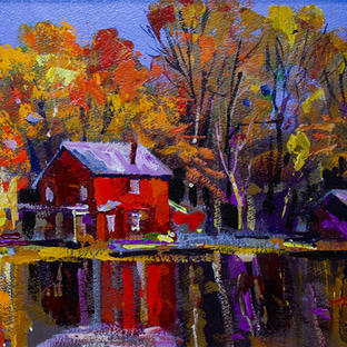 Red House on the Lake 35x55 cm