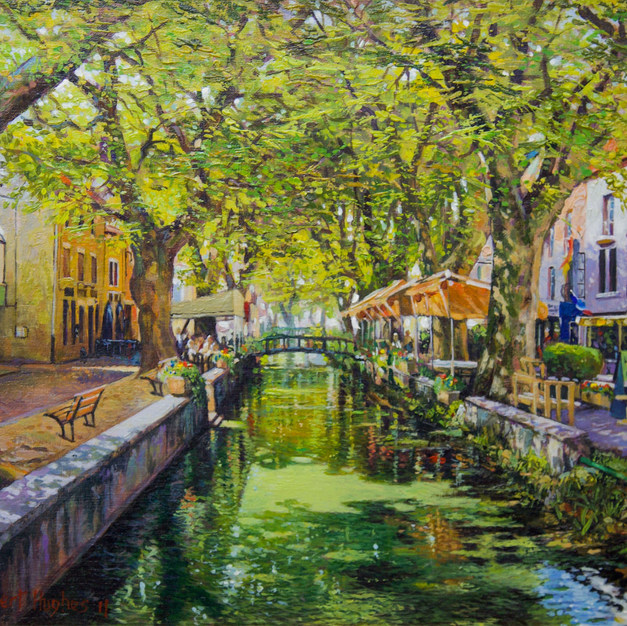 Restaurants and Cafés on the canal-Goudargues-South of France 39.5x49 cm