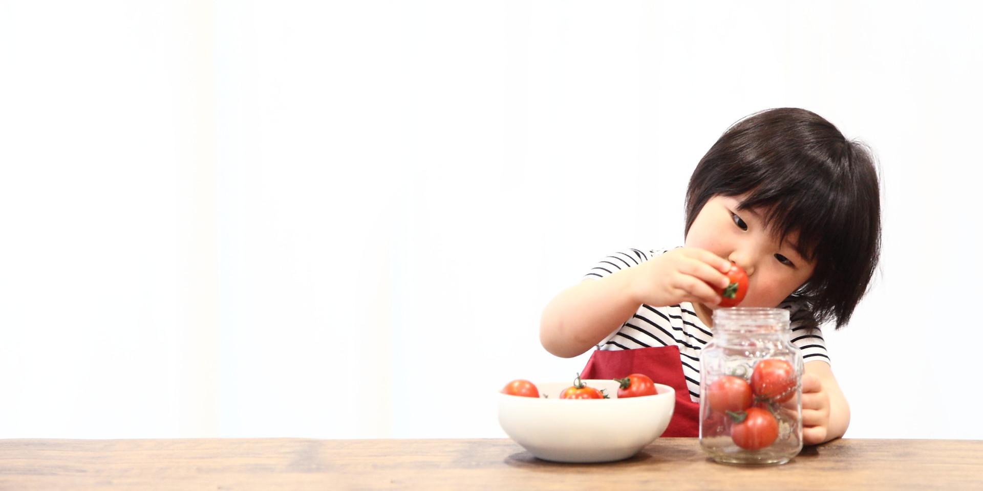 大好きなプチトマトと一緒に