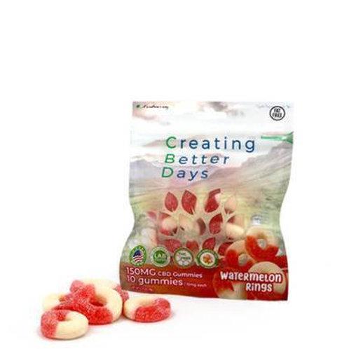 Creating Better Days - CBD Edible - Watermelon Rings Gummies - 10pc-15mg