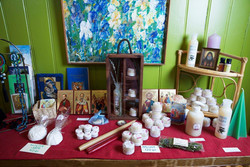 A display of the Monastery's products. Summer 2015 Photo by Svein Brimi