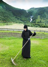 Abbess Thavoria working in the garden. Summer 2015 Photo by Svein Brimi