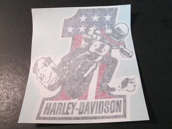 Harley Davidson #1 Sliding Sideways Decal