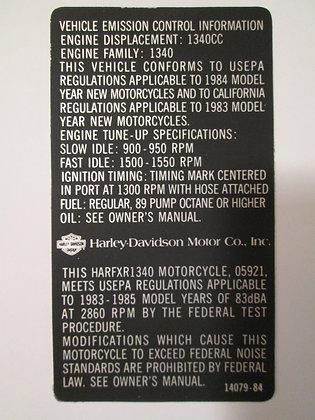 Vehicle Emissions Control Decal Harley FXR-1340