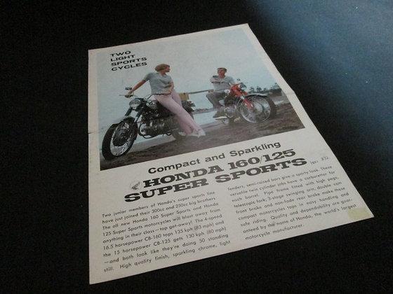 Honda 160 / 125 Super Sports Sales Flyer