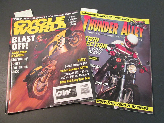 8/97 Cycle World & 12/95 Thunder Alley Magazines