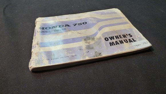 1972 Honda 750 Model CB750 Owners Manual
