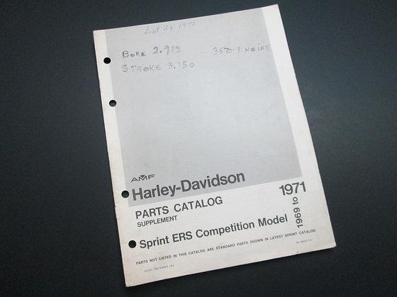 AMF Harley Davidson Sprint ERS  1969 – 1971 Supplement Parts Catalog