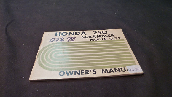 1966 Honda 250 Scrambler Model CL7 2 Owners Manual