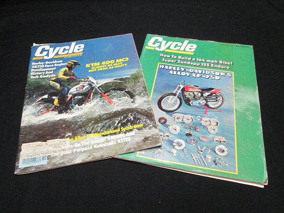 Cycle Magazines with Harley XR750 Motor Engine Articles