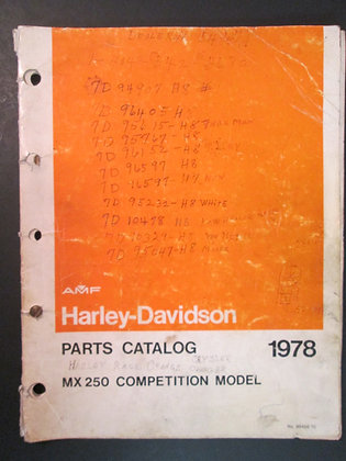 AMF Harley Davidson 1978 MX250 Competition Model Parts Catalog