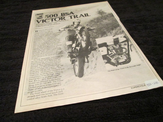 BSA 500 Victor Trail Road Test Article By David Gooley