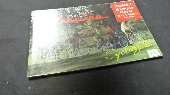 Schwinn Cycling 1972 Sales Brochure Zone 1 Sample Copy